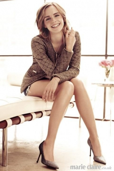 bling ring emma watson stuns on marie claire uk sexy long legs brown heels long sleeve jacket short shorts
