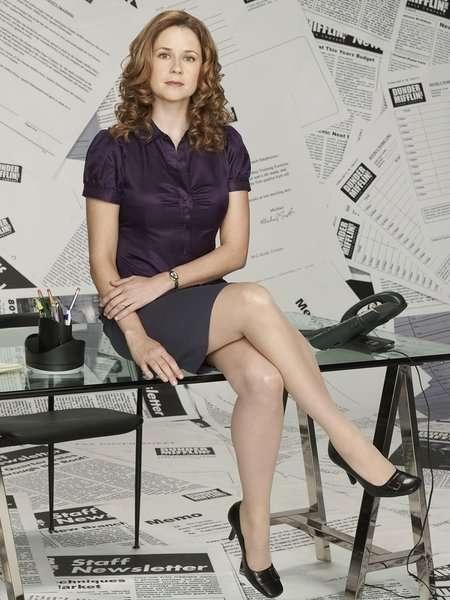 jenna-fischer-in-satin-blouse-top-with-short-skirt-photo-u1